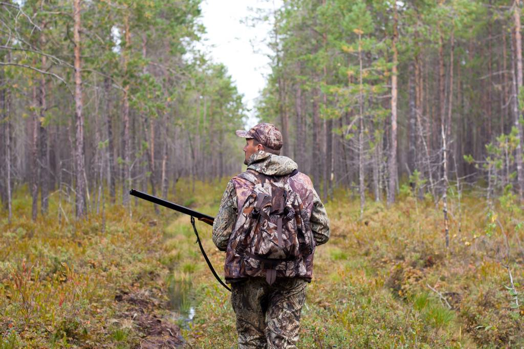 Myśliwy idący przez las