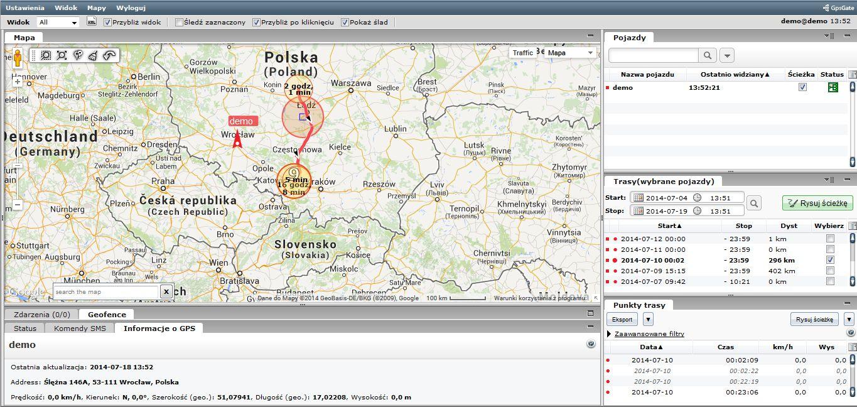 Dokładne śledzenie pojazdów i osób za pomocą specjalnej platformy GPS.
