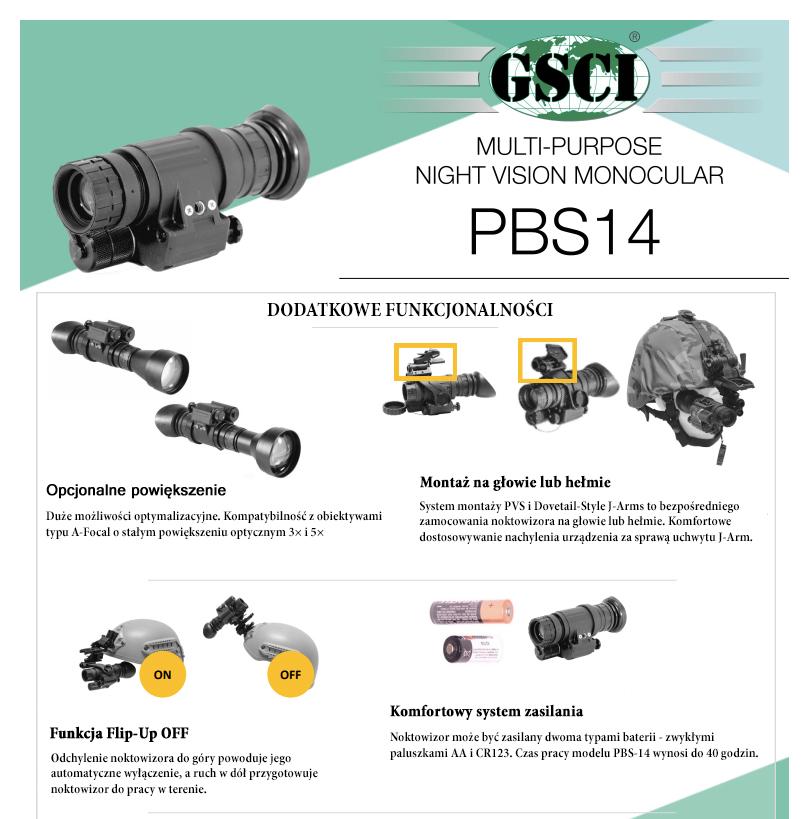 Noktowizor taktyczny GSCI PBS-14 do pracy w terenie i nocnych obserwacji